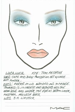 Luca Luca Designer Spring Fashion Week Collections MAC Face Chart