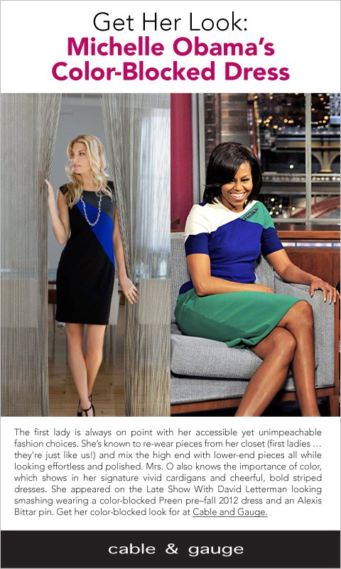 Cable & Gauge Michele Obama Color Block Dress