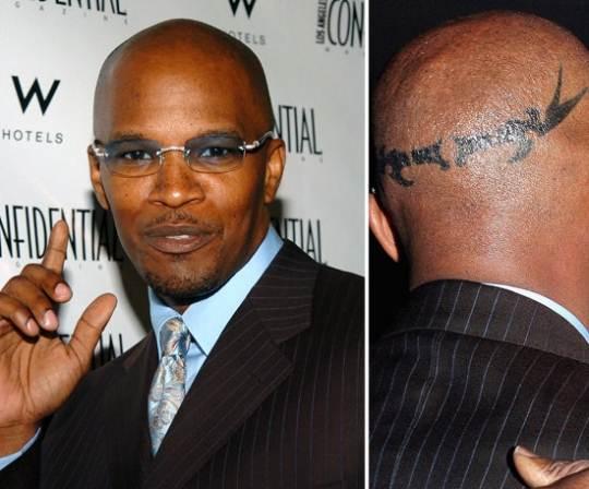 jamie foxx head tattoo real