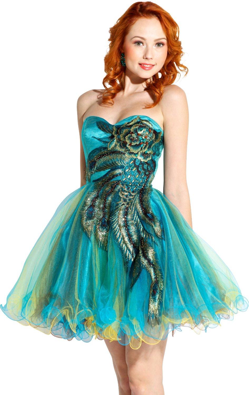 cute junior dresses metalic peacock