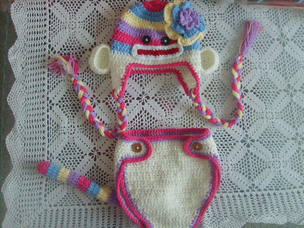 crocheted sock monkey baby outfit