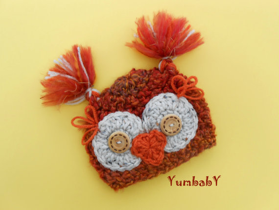 crocheted owl baby hat
