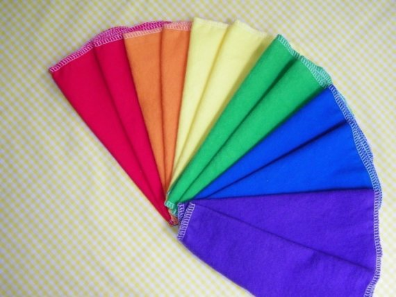 colorful cloth wipes
