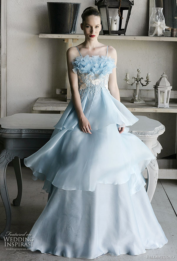 sea blue wedding dress