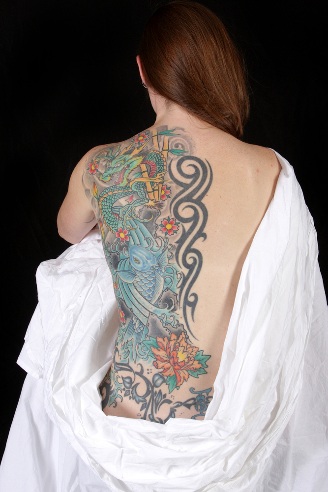 full back tattoo for women