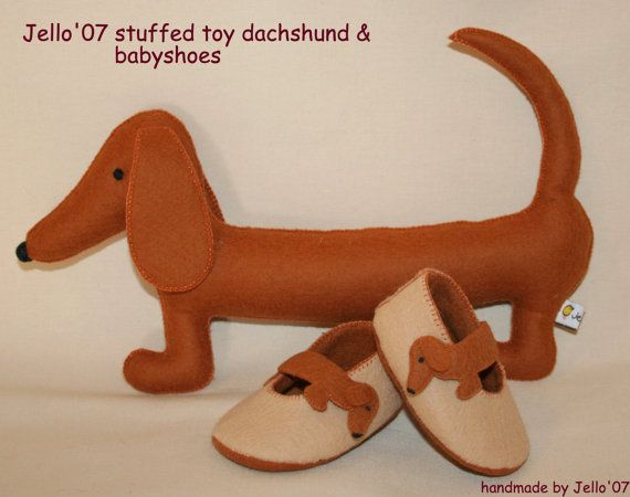 dachshund baby shoes and toy