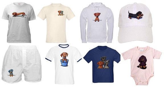 selection of dachshund baby clothing