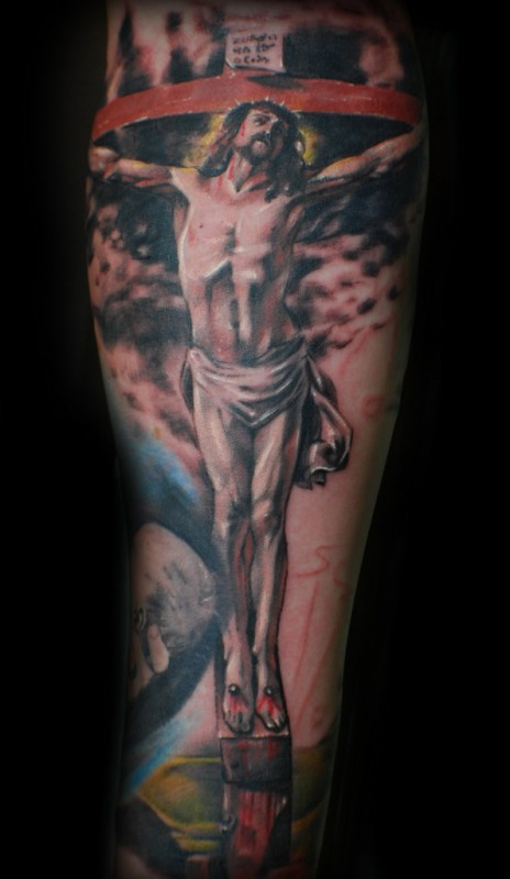 religious jesus sleeve tattoo