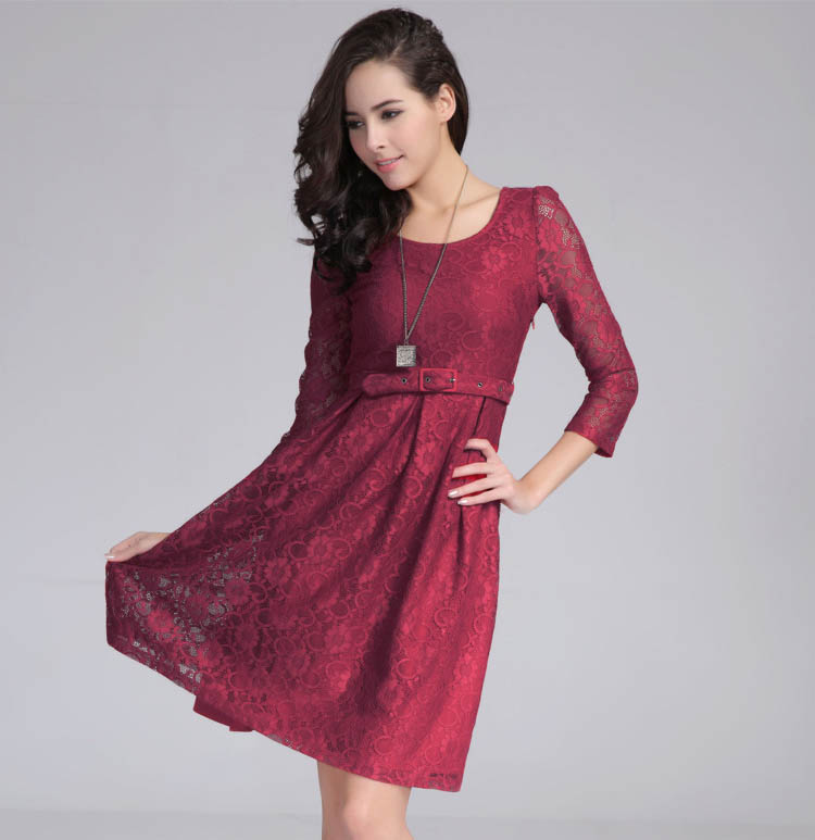 scoop-neck-long-sleeve-lace-knee-length-casual-womens-dress