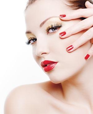 red lipstick and nail polsih