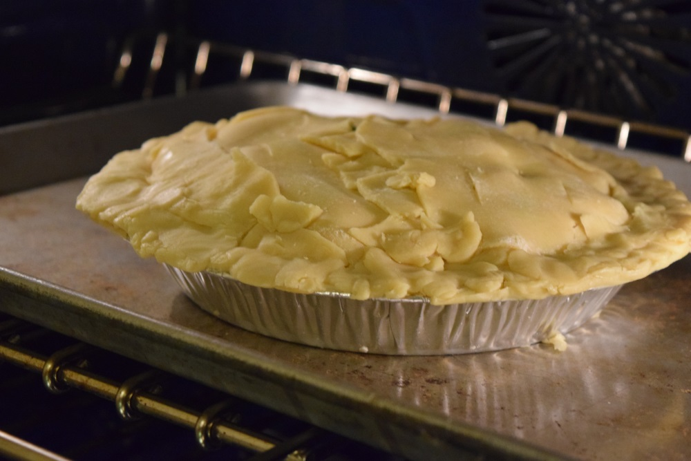 turkey pot pie in oven